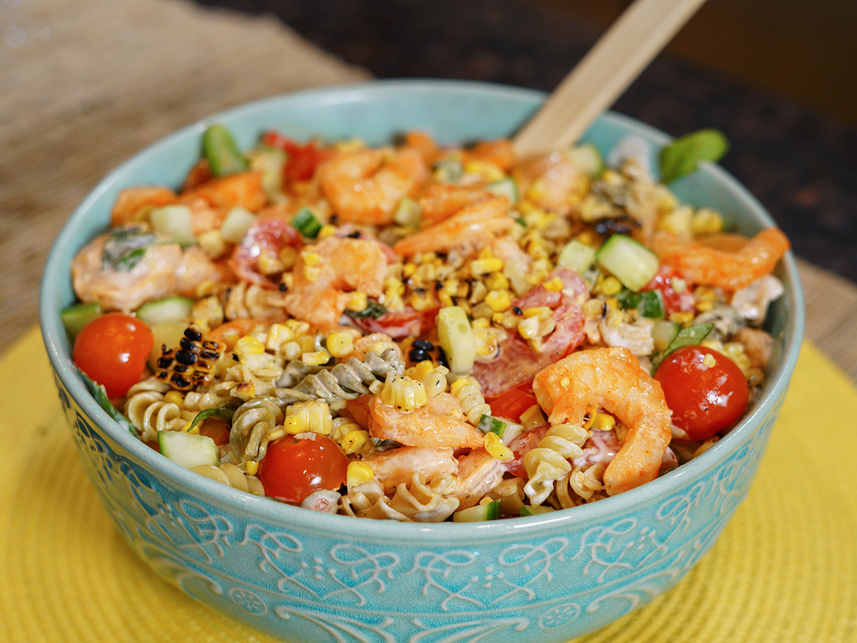 Summertime Shrimp Pasta Salad with Vegetables and Ranch