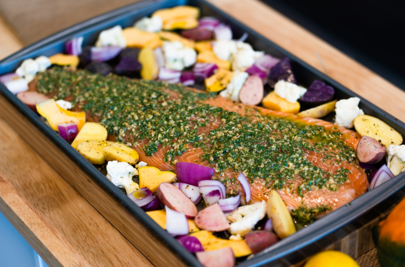 Pesto Salmon Sheet Pan