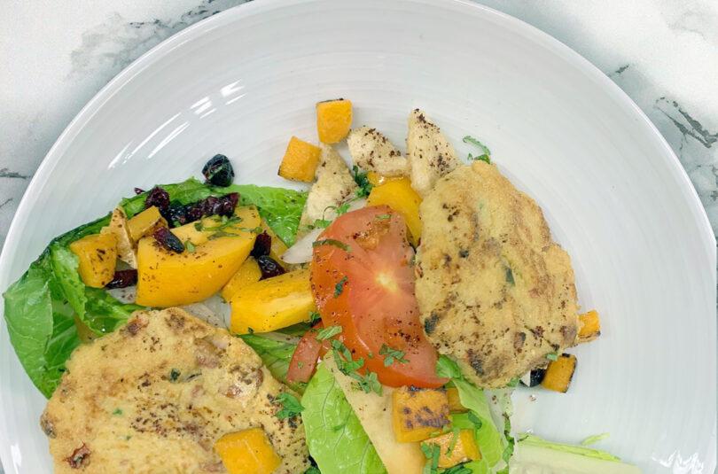 Mackerel Millet Cakes with Cranberry Fattoush Salad