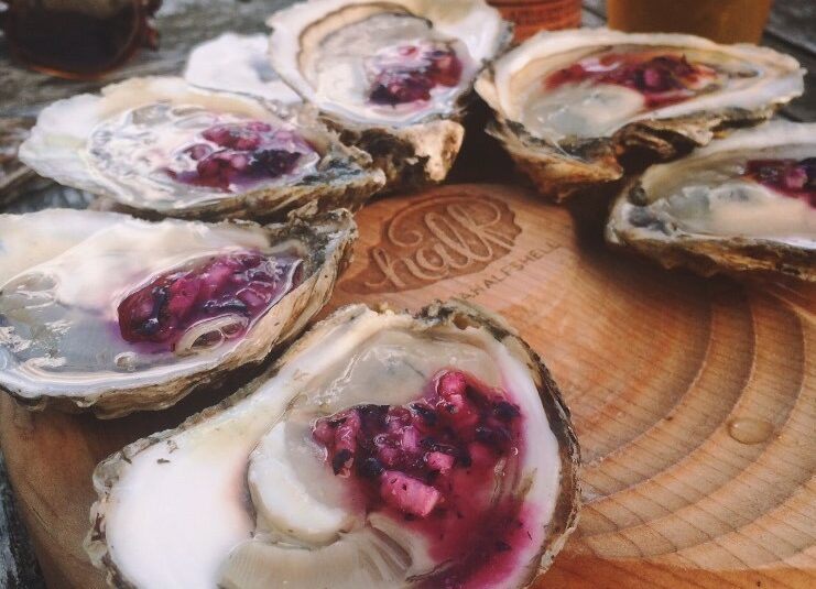 Oysters on the Half Shell with Blueberry Mignonette
