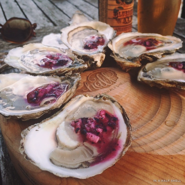 Oysters on the Half Shell with Blueberry Mignonette by Julie Qiu, In a Half Shell Blog