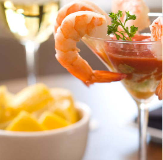 Shrimp cocktail in a glass