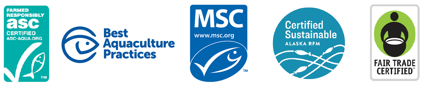 Logos for Seafood Sustainability Schemes