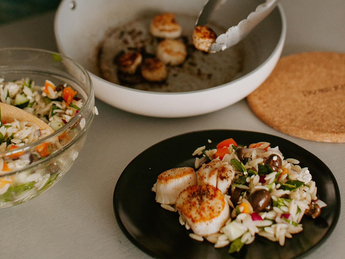 Seared Scallops w/ Mediterranean Orzo Salad