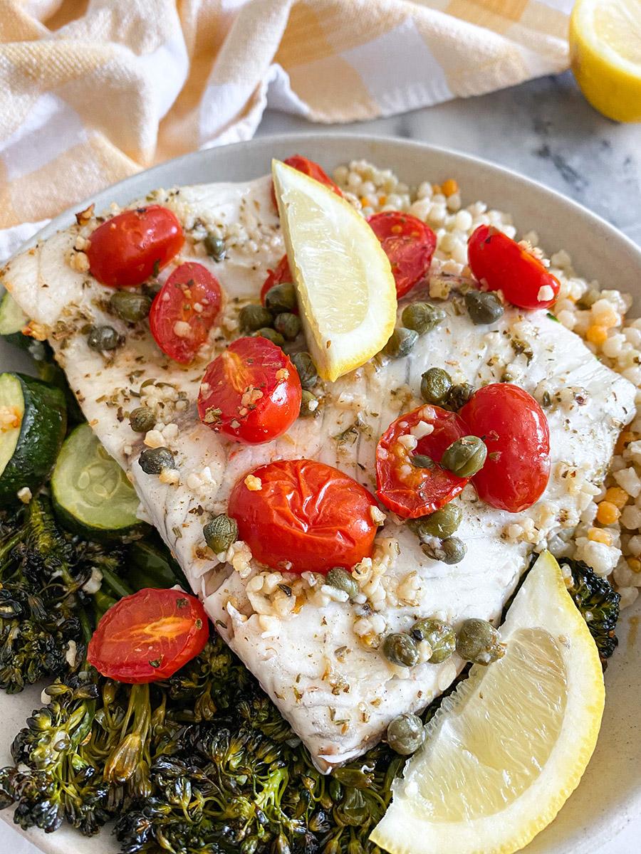 Baked Lemon Garlic Caper Sea Bass
