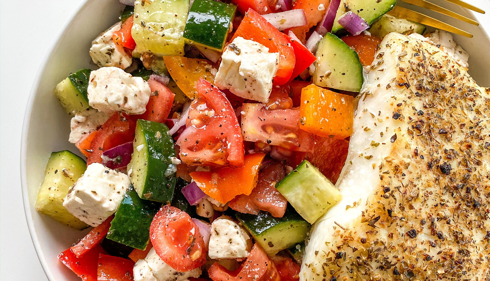 Mediterranean Style Alaskan Halibut with a Village Greek Salad
