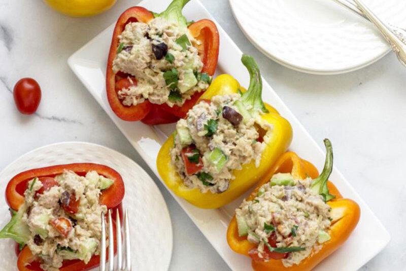 Mediterranean Style Tuna Stuffed Peppers