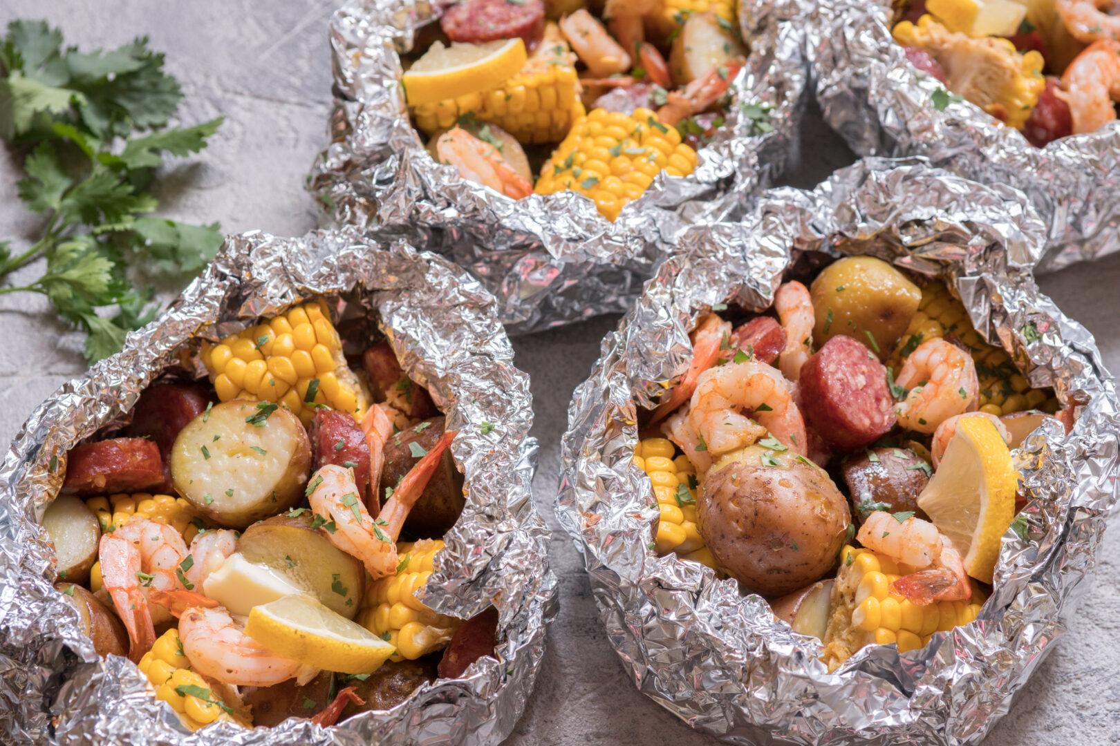 Shrimp Boil in Foil Packets