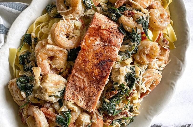 Creamy Tuscan Salmon and Shrimp Pasta