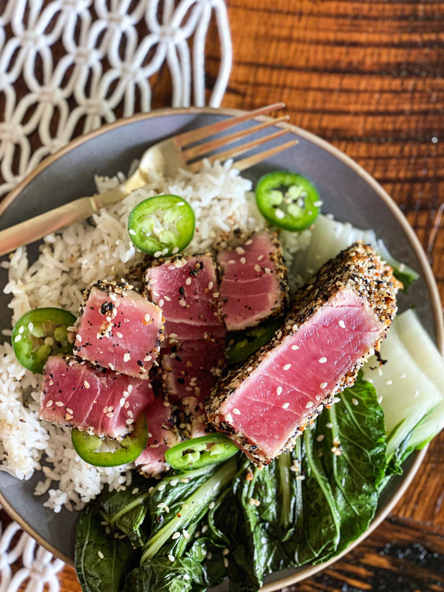 Everything Bagel Seasoned Seared Tuna Steak
